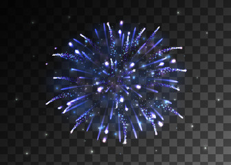 VECTOR eps 10. Glowing collection. Blue and golden Firework, light effects isolated and grouped. Shining elements and stars.