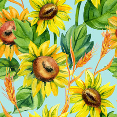 Watercolor seamless pattern with sunflowers