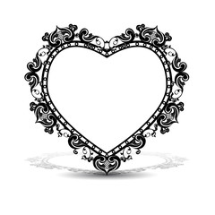 silhouette frame in the shape of heart