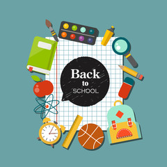 Back to school flat design supplies vector background.