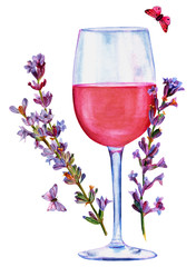 Watercolor drawing of rose wine with lavender and butterflies