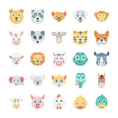 Birds and Animals Faces Colored Vector Icons 1