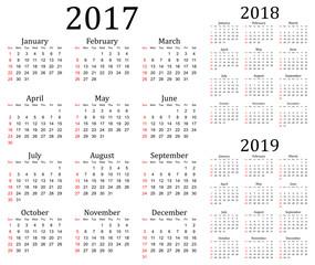 Three year vector calendar - 2017, 2018 and 2019
