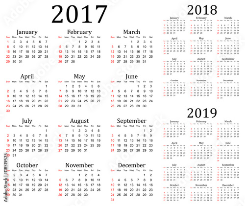 Quot Three Year Vector Calendar 2017 2018 And 2019 Quot Stock