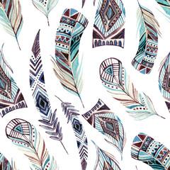 Modèle sans couture de plumes tribales décorées à l& 39 aquarelle