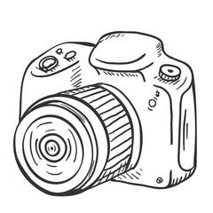 Vector Sketch Reflex Camera with Lens