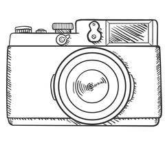 Vector Sketch Retro Photo Camera. Front View.