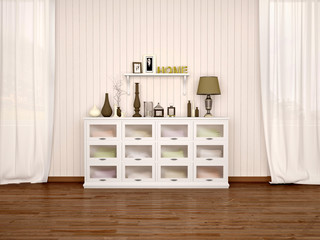 white chest of drawers and filled with different décor in brigh