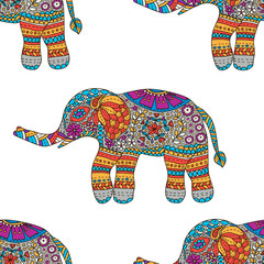 Hand drawn colorful Elephants seamless pattern. Vector illustrat