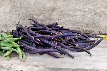 haricots frais violets et verts sur fond bois