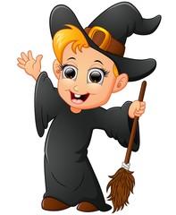 cartoon little witch waving