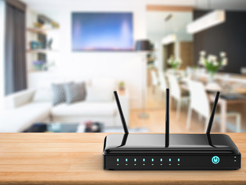 router on table