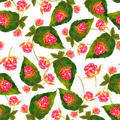 Seamless background pattern of watercolor raspberries and green