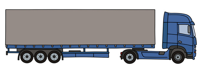 Hand drawing of a blue long cover semitrailer