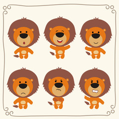 Vector set isolated emotions lion. Stickers emoticons with different emotions lion. Collection cartoon lions.