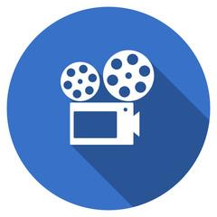 Flat design blue round web cinema vector icon