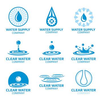 Water splashes and drops vectors logos