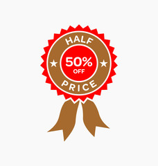 Half price. 50% off sale offer badge. Promo seals/stickers.