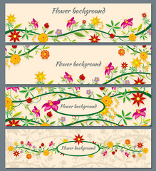 Wall Mural - Floral banners vector set with flowers