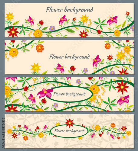 Wall mural Floral banners vector set with flowers