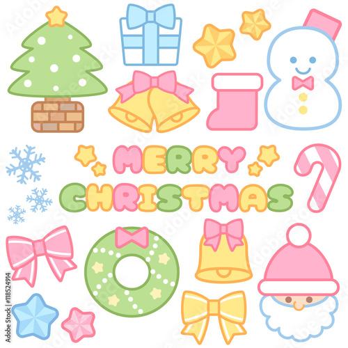パステルカラーのクリスマスイラストロゴアイコン セット素材