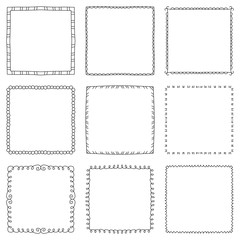 Set of hand drawn decorative square frames and borders. Mono line design templates, isolated on white background
