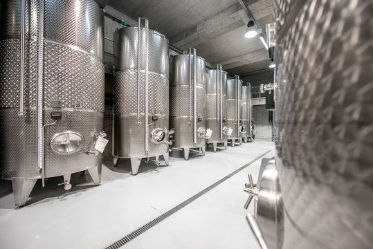 Metal tanks for wine fermentation at the manufacture