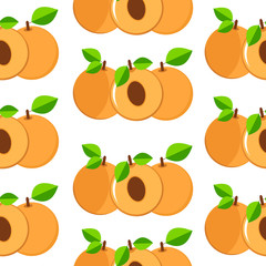 Apricots seamless patterns. Colorful fruits  on the white backgr