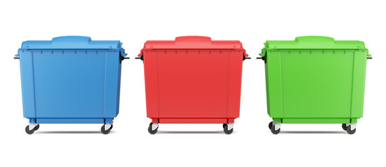 three color garbage containers isolated on white background