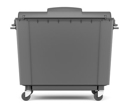 gray garbage container isolated on white background
