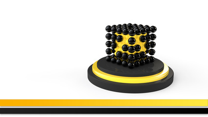 3d render of black and yellow spheres in cube shape arrangement.