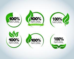 Abstract sphere green leaf logo element vector design ecology symbols set. Leaf logo shape icon and green leaf logo emblem. Ecology green leaf logo organic environment, tree leaf logotype.