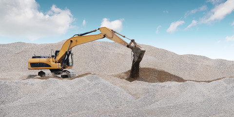 Extraction of sand in the sand pit.