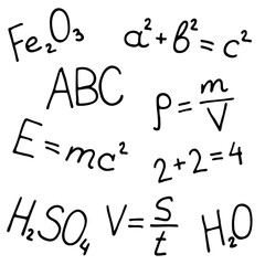 Hand drawn formulas vector set