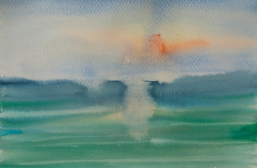 Watercolor painting of sea at sunset time, watercolor background texture