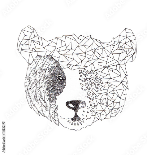 The Bear Half Geometrical Design Of Animal With Abstract Origami Isolated On White Background