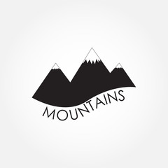 Mountains icon or sign. Black mountain silhouette isolated on white background. Vector illustration.