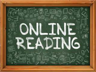 Online Reading Concept. Doodle Icons on Chalkboard.
