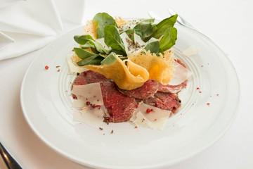 Carpaccio made from slice beet sirloin
