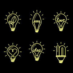 Light bulbs. Bulb icon set. Creative light bulb. Collection of design elements. Vector illustration