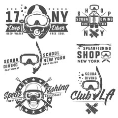 Set of scuba diving elements for emblems,logo ,prints,tattoo,label and design.