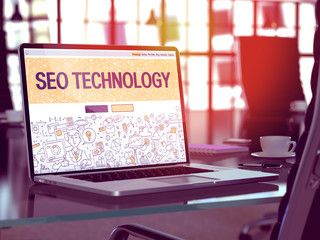 SEO Technology Concept on Laptop Screen.