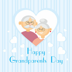 grandparents day greeting card with the image of the grandmother and grandfather