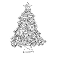 Decorative ornamental Christmas tree with artistic balls, star and bows. Zentangle design. Coloring book page for adult, anti stress coloring and other decoration. New year illustration.