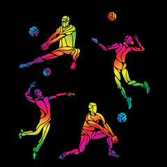 Vector volleyball silhouettes rainbow collection
