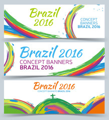 Banners set, vector template with colored lines and waves, Abstract vector banner design. 2016 Brazil