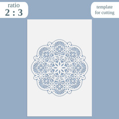 Paper openwork greeting card, template for cutting, lace invitation,  lasercut metal panel, wood carving,  vector illustration