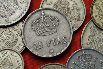 Coins of Spain. Spanish Royal crown