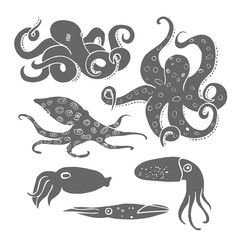 Hand drawn octopus set. Black silhouettes on white background
