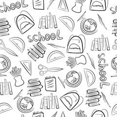 Pattern on the school subjects on a white background. A vector graphic illustration of wallpaper, textiles, wrappers, covers